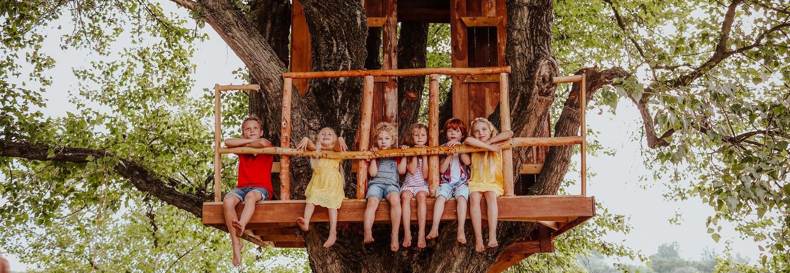 dzieci siedzące w domku na drzewie