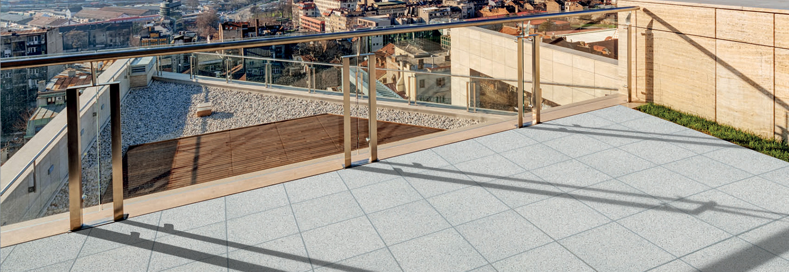 widok z tarasu na dachu