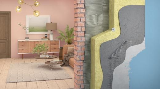 przekrój ściany z izolacją cieplną